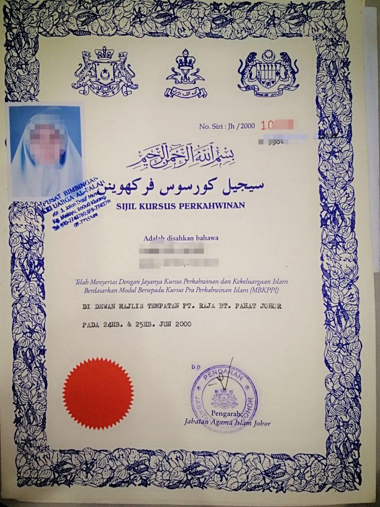 Sijil Kursus Kahwin Johor 2021